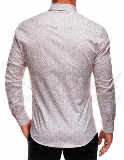 Men's shirt with long sleeves K495 - beige/orange
