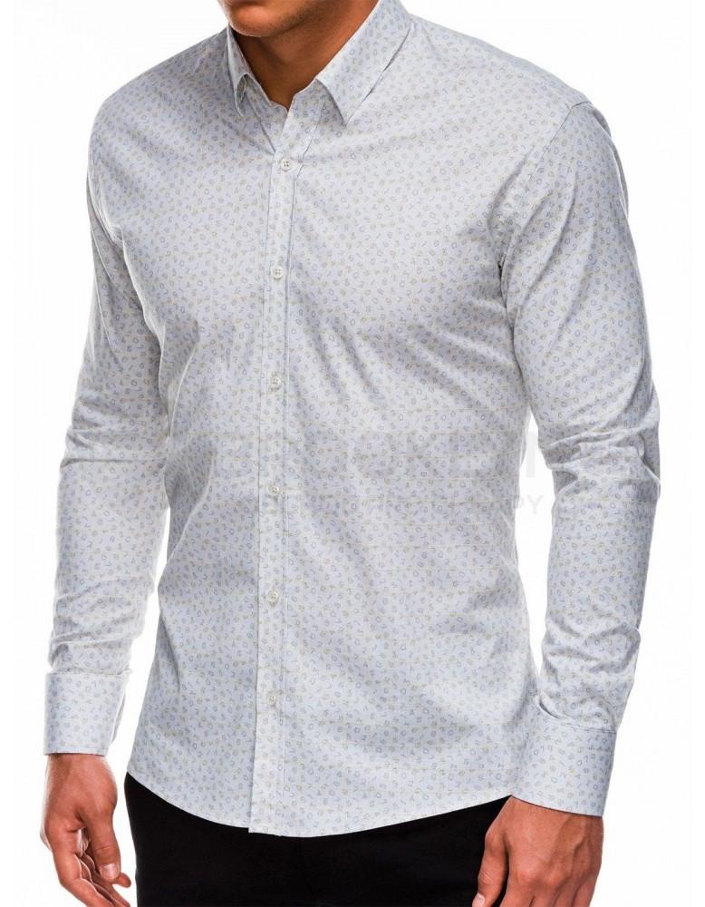 Pánská košile s dlouhým rukávem K495 - bílá / žlutá