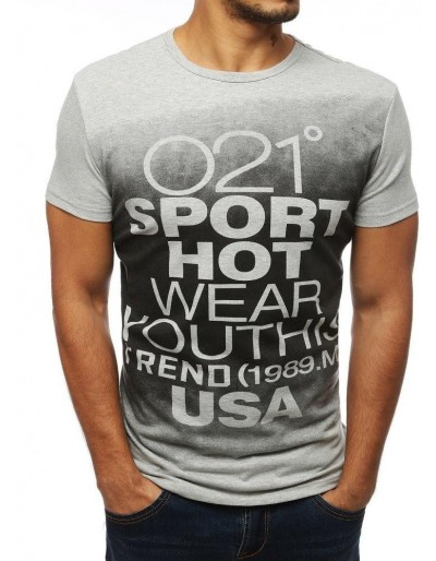 Šedé pánské tričko RX3863 s potiskem