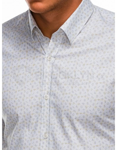 Men's shirt with long sleeves K495 - white/yellow