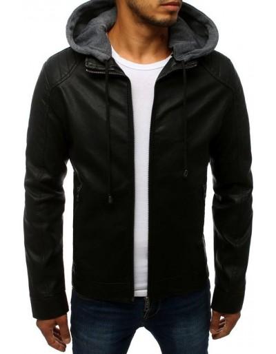 Černá pánská kožená bunda TX2784