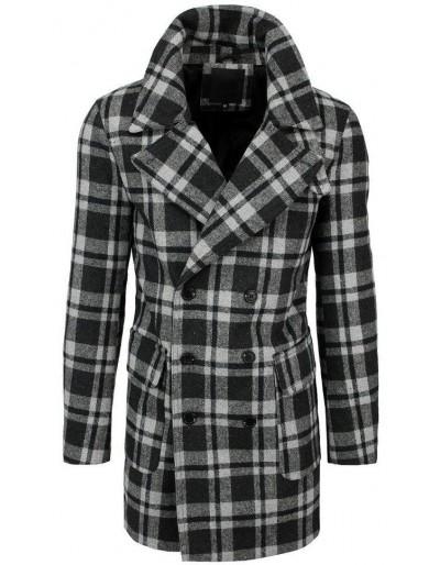 Pánský šedý kostkovaný kabát CX0396