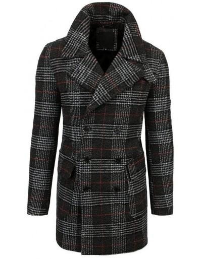 Pánský dvouřadý černý kostkovaný kabát CX0398