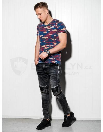 Men's printed t-shirt S1050 - blue/camo