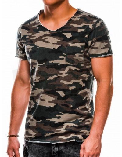 Pánské tričko s potiskem S1050 - zelené / kamufláž