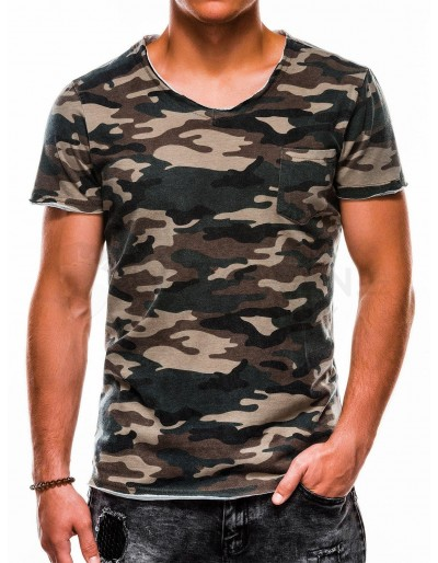 Men's printed t-shirt S1050 - green/camo