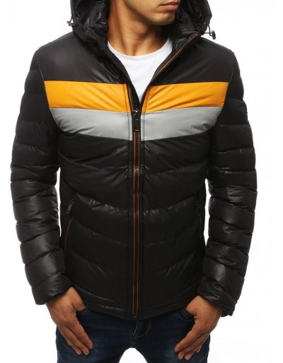 Černá pánská prošívaná bunda s kapucí TX2920