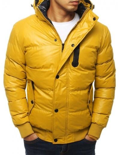 Žlutá pánská prošívaná bunda s kapucí TX2932