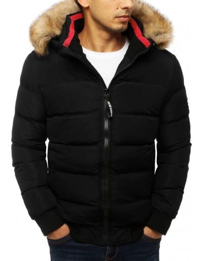 Černá pánská prošívaná zimní bunda s kapucí TX2936