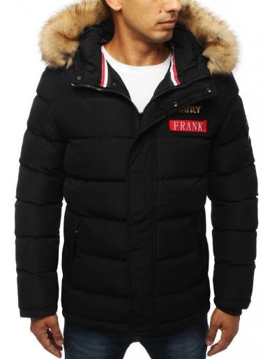 Černá pánská prošívaná zimní bunda s kapucí TX2947