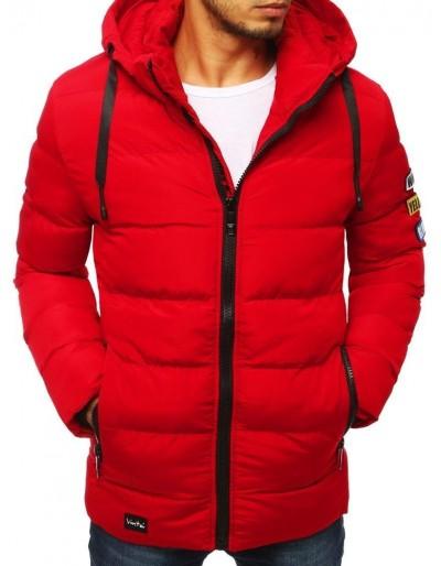 Červená pánská prošívaná bunda s kapucí TX2951