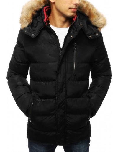 Černá pánská prošívaná zimní bunda s kapucí TX2953
