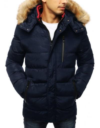 Námořnická modrá pánská prošívaná zimní bunda s kapucí TX2954