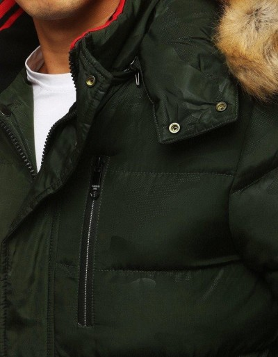 Kurtka męska zimowa pikowana z kapturem zielona TX2955
