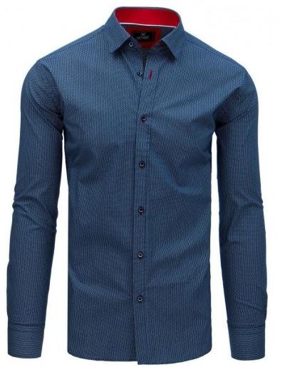 Pánská košile PREMIUM s dlouhým rukávem v tmavě modré barvě DX1762