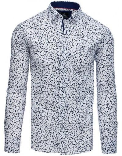Bílé pánské tričko PREMIUM s dlouhým rukávem DX1768