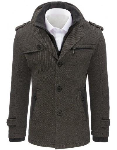Płaszcz męski w jodełkę szary CX0402