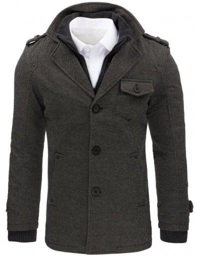Płaszcz męski w jodełkę szary CX0404