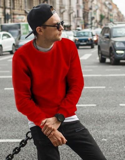 Červená pánská mikina bez čepice BX4198