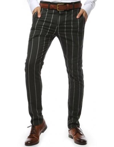 Tmavě šedé pánské kalhoty s pruhy UX2145