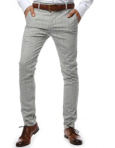 Světle šedé pánské kalhoty s pruhy UX2146