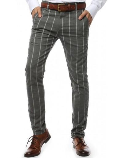 Tmavě šedé pánské kalhoty s pruhy UX2148