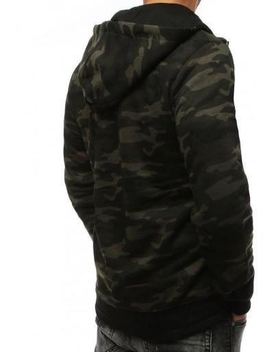 Bluza męska z kapturem moro ciemnozielona BX4228