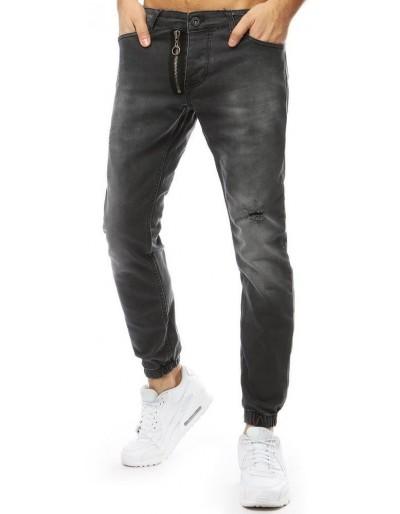 Pánské džínové běžecké kalhoty antracitové UX2180