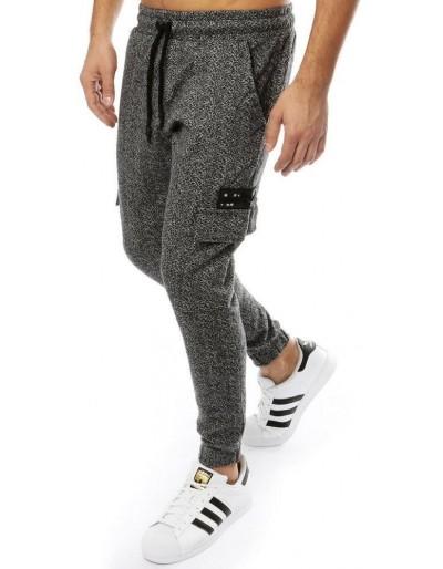 Tmavě šedé pánské běžecké kalhoty UX2187