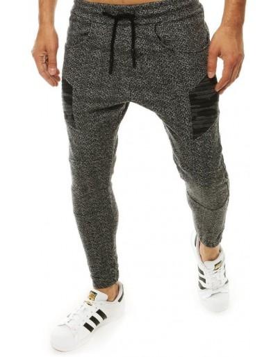 Tmavě šedé pánské běžecké kalhoty UX2190