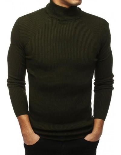 Pánský svetr s vysokým výstřihem khaki WX1433