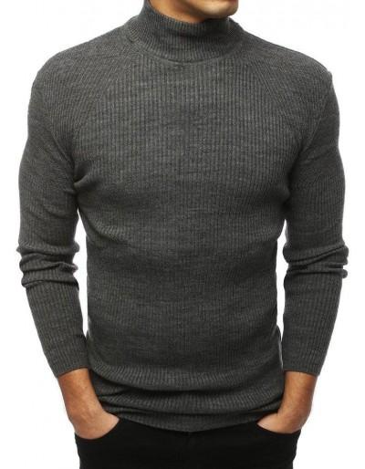 Pánský svetr s vysokým krkem, tmavě šedý WX1435