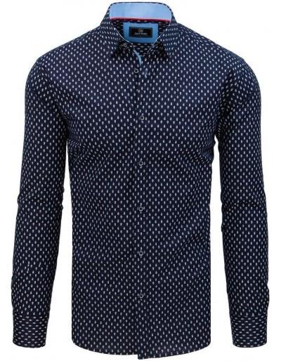 Pánská košile PREMIUM s dlouhým rukávem v tmavě modré barvě DX1791