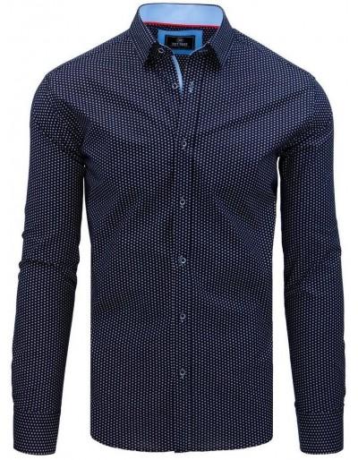 Pánská košile PREMIUM s dlouhým rukávem v tmavě modré barvě DX1792