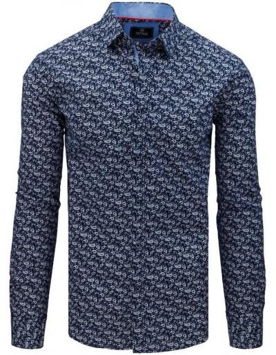 Pánská košile PREMIUM s dlouhým rukávem v tmavě modré barvě DX1798
