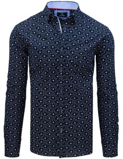 Pánská košile PREMIUM s dlouhým rukávem v tmavě modré barvě DX1800