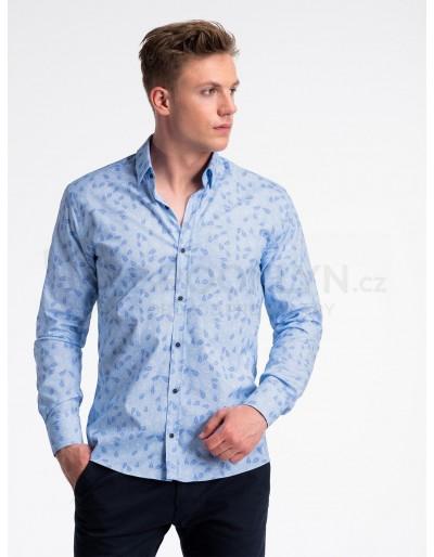 Pánská košile s dlouhým rukávem K500 - světle modrá / modrá