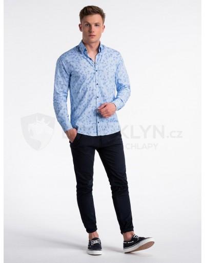Men's shirt with long sleeves K500 - light blue/blue