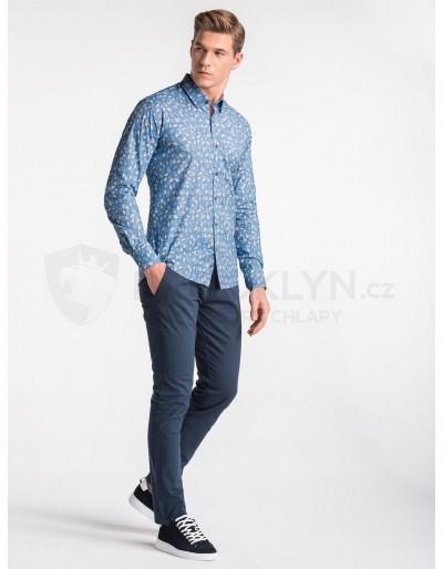 Pánská košile s dlouhým rukávem K500 - modrá / béžová