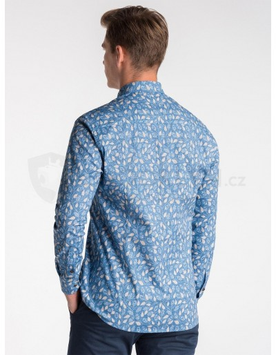 Men's shirt with long sleeves K500 - blue/beige