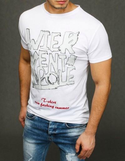 Bílé pánské tričko RX3887 s potiskem