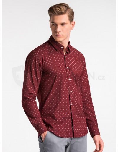 Pánská košile s dlouhým rukávem K494 - tmavě červená