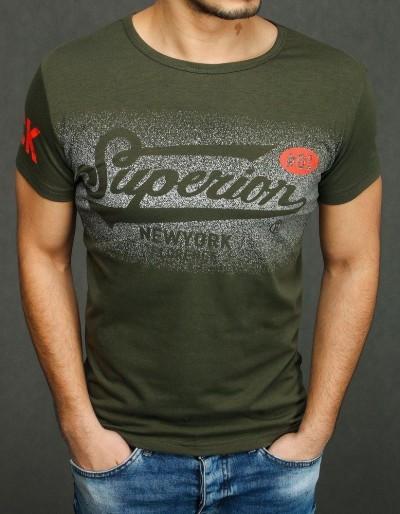 Pánské tričko s khaki potiskem RX3931