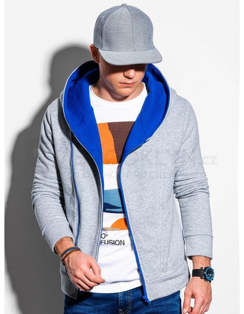 Pánská mikina na zip PRIMO - šedá / modrá