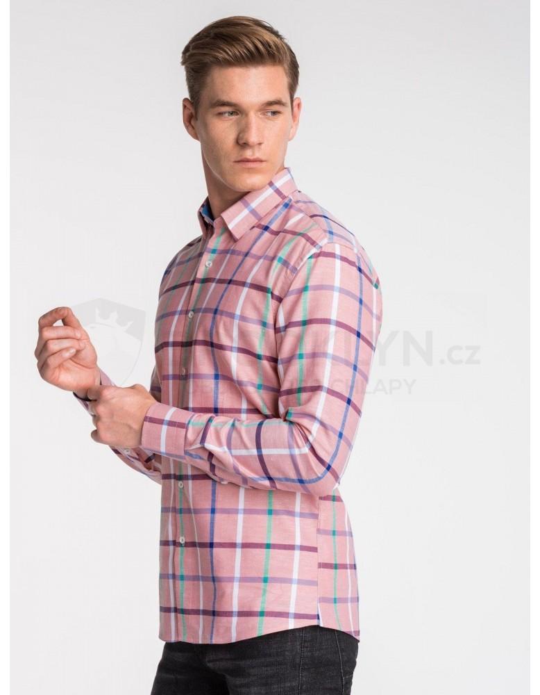 Pánská košile s dlouhým rukávem K493 - růžová