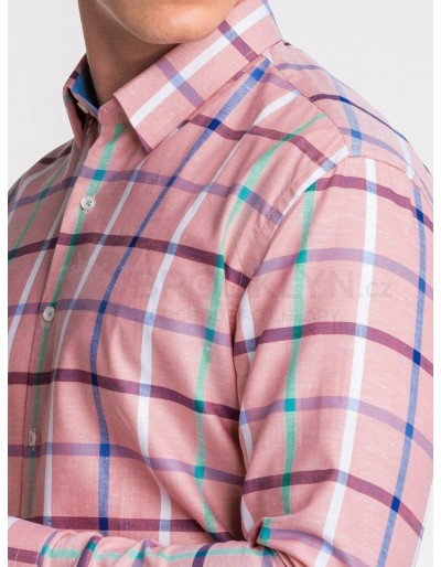 Men's shirt with long sleeves K493 - pink