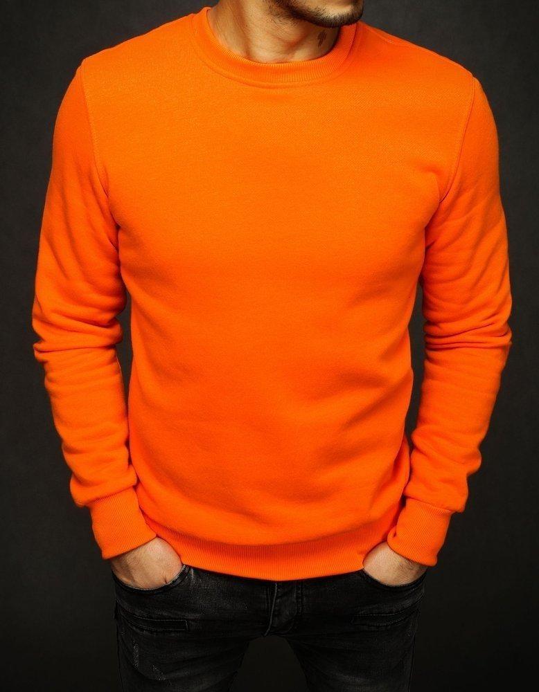 Oranžová pánská hladká mikina BX4387
