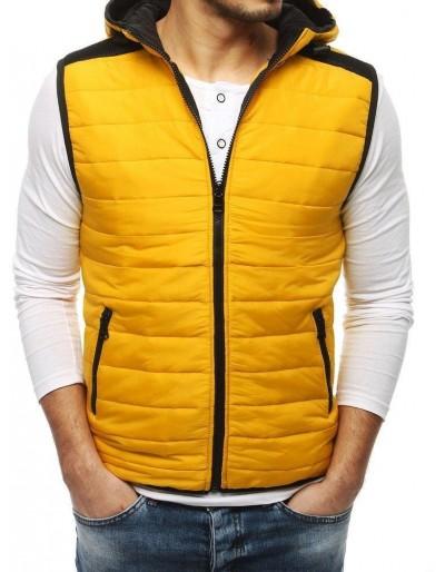 Žlutá pánská prošívaná vesta s kapucí TX3160