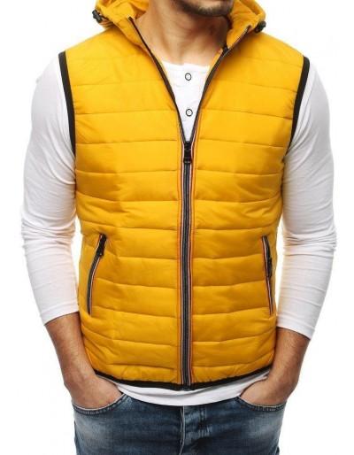 Žlutá pánská prošívaná vesta s kapucí TX3163