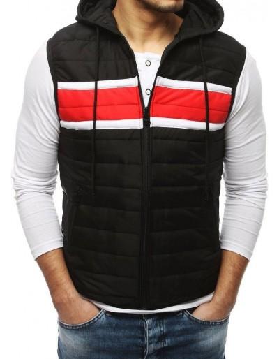Pánská prošívaná vesta s kapucí černá TX3168